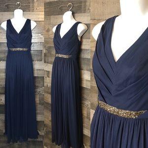 David's Bridal Marine Long Bridesmaid Dress W11092